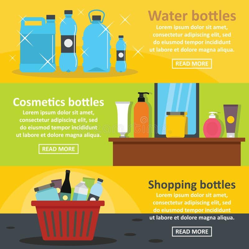 Insieme d'imballaggio di orizzontale dell'insegna della bottiglia, stile piano royalty illustrazione gratis