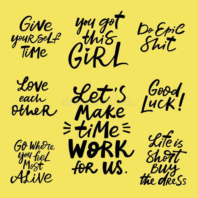Insieme d'iscrizione motivazionale, citazioni disegnate a mano illustrazione di stock