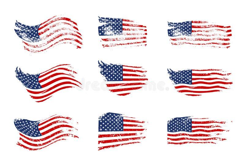 Insieme d'ondeggiamento d'annata della bandiera di U.S.A. Bandiere americane d'ondeggiamento di vettore su struttura di lerciume illustrazione vettoriale