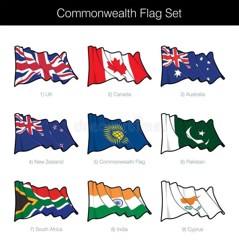 Insieme d'ondeggiamento della bandiera del commonwealth illustrazione vettoriale