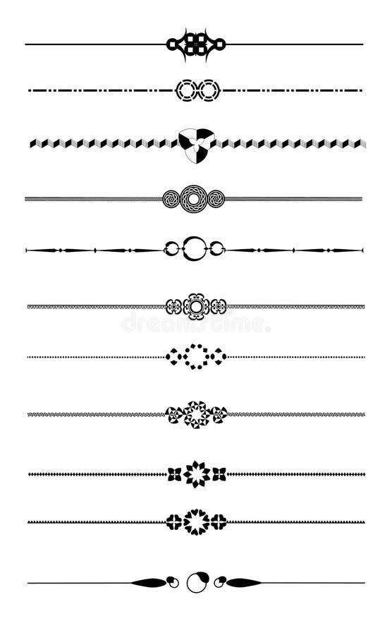 Insieme decorativo del divisore della pagina illustrazione vettoriale