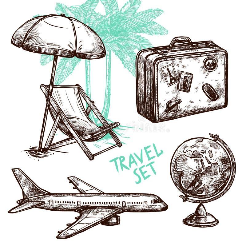 Insieme decorativo dell'icona di schizzo di viaggio illustrazione di stock