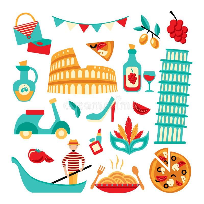 Insieme decorativo dell'Italia illustrazione di stock