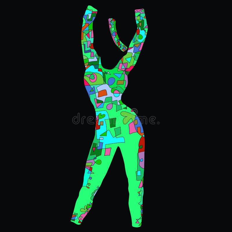 Insieme degli abiti sportivi delle donne per forma fisica o aerobica, desi creativo illustrazione di stock
