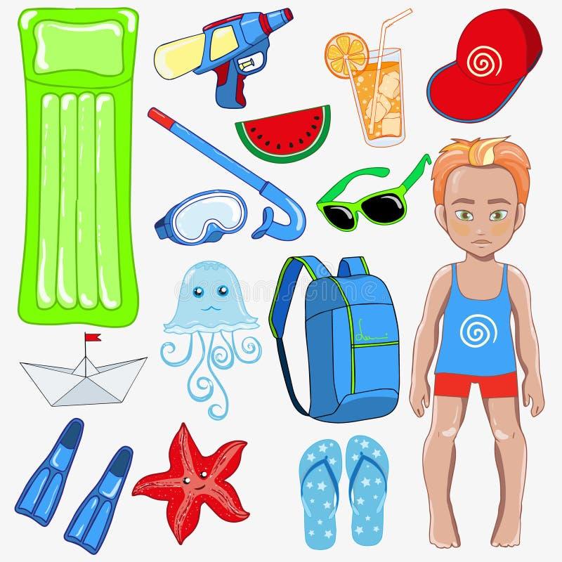 Insieme degli accessori della spiaggia di estate per il ragazzo royalty illustrazione gratis