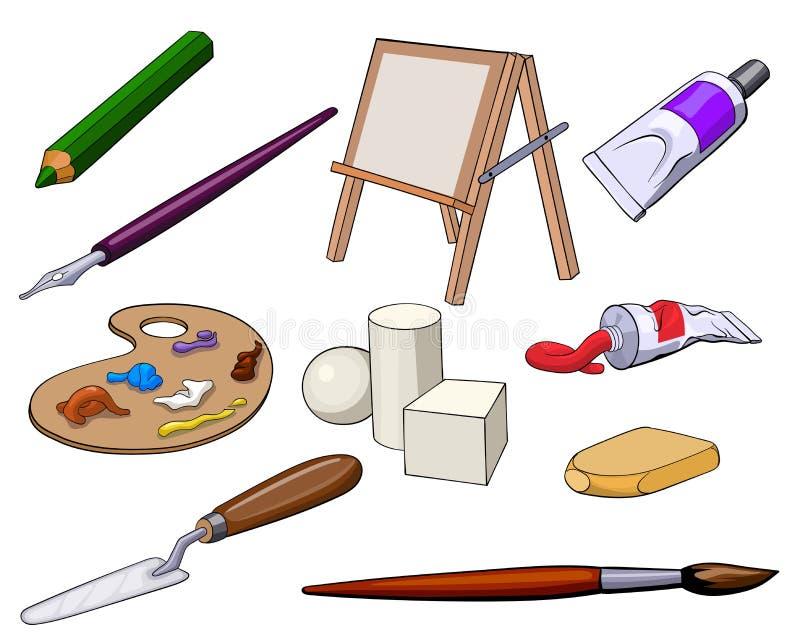 Insieme degli accessori e dei materiali di arte illustrazione vettoriale