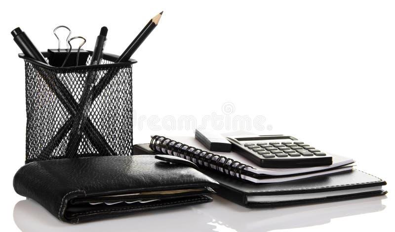 Insieme degli accessori neri di affari fotografie stock