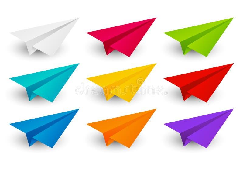 Insieme degli aeroplani di carta di colore illustrazione di stock