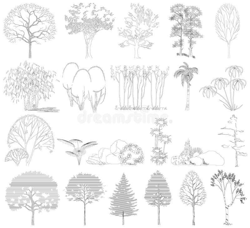 Insieme degli alberi, cespugli, piante. Vista laterale. royalty illustrazione gratis