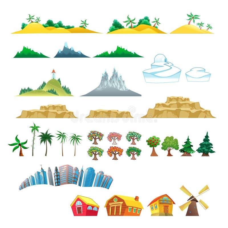 Insieme degli alberi, delle montagne, delle colline, delle isole e del buildi royalty illustrazione gratis