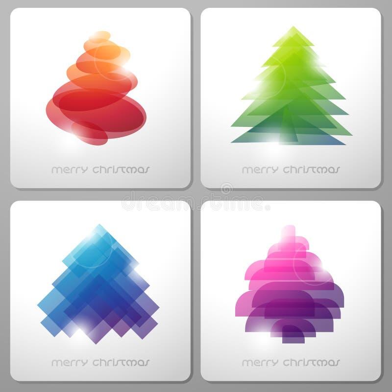 Insieme degli alberi di Natale lucidi astratti. illustrazione vettoriale
