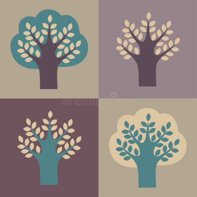 Insieme degli alberi di vettore royalty illustrazione gratis