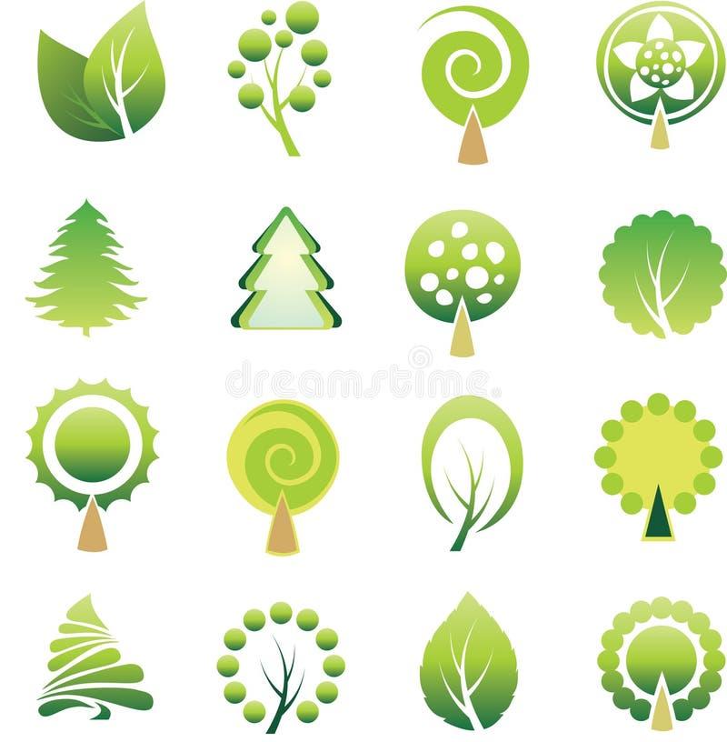 Insieme degli alberi e del foglio. illustrazione vettoriale
