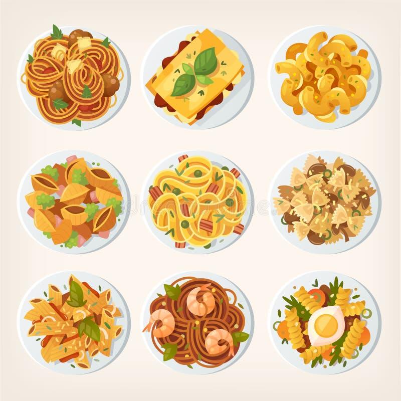 Insieme degli alimenti a rapida preparazione deliziosi freschi dalle vie asiatiche varietà di royalty illustrazione gratis