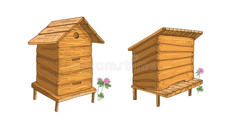 Insieme degli alveari di legno isolati su fondo bianco Alveari o strutture per produzione del miele, alloggio della colonia di ap illustrazione vettoriale