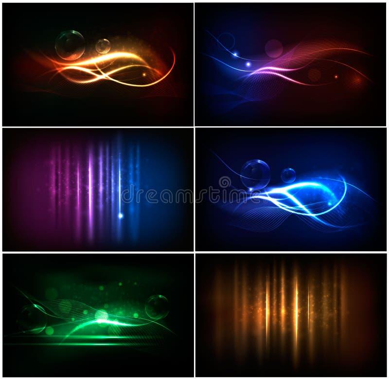 Insieme degli ambiti di provenienza al neon astratti variopinti. illustrazione vettoriale