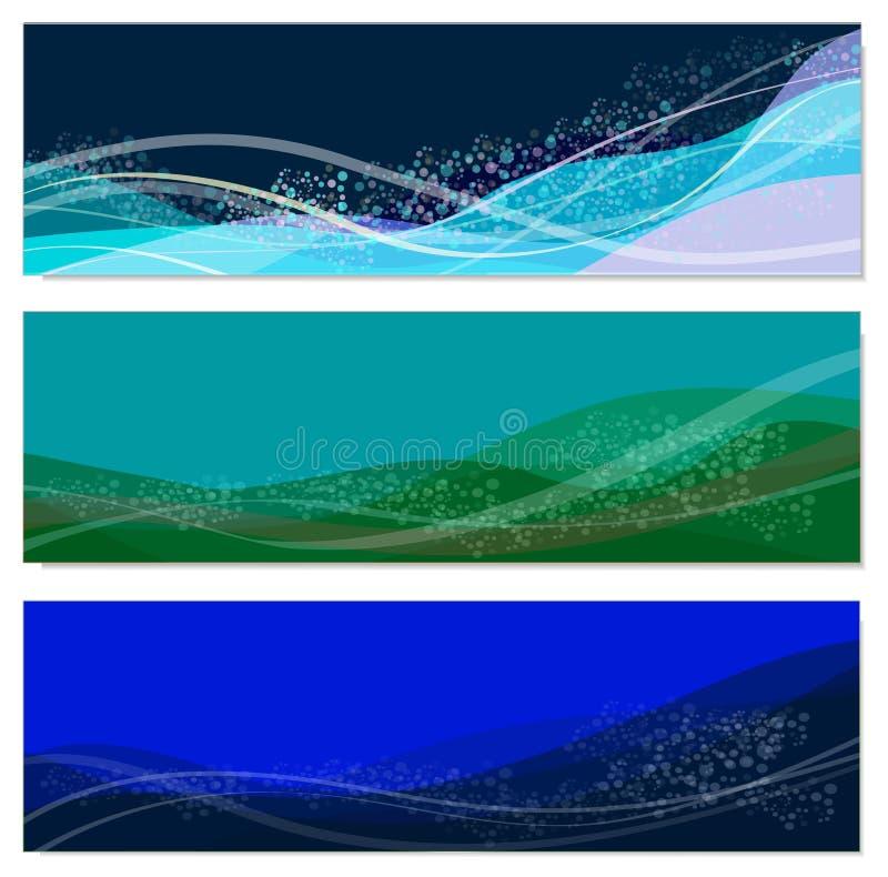 Insieme degli ambiti di provenienza astratti del mare illustrazione vettoriale