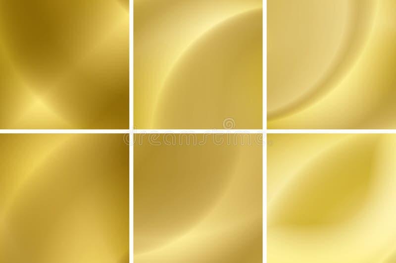Insieme degli ambiti di provenienza astratti del neon dell'oro royalty illustrazione gratis