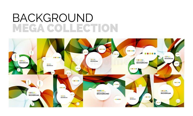 Insieme degli ambiti di provenienza astratti, forme ondulate di colore geometrico illustrazione di stock