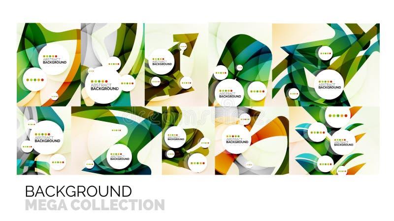 Insieme degli ambiti di provenienza astratti, forme ondulate di colore geometrico royalty illustrazione gratis
