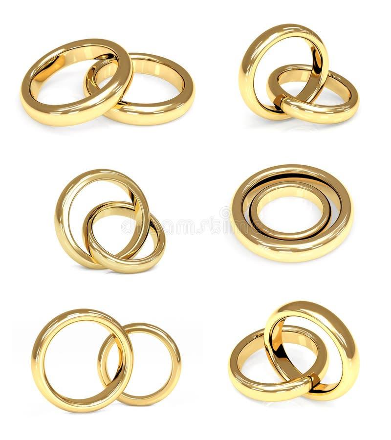 Insieme degli anelli di cerimonia nuziale dell'oro illustrazione di stock