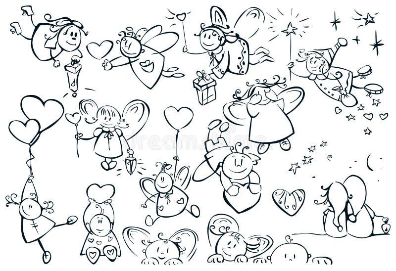 Insieme degli angeli svegli per il disegno   royalty illustrazione gratis