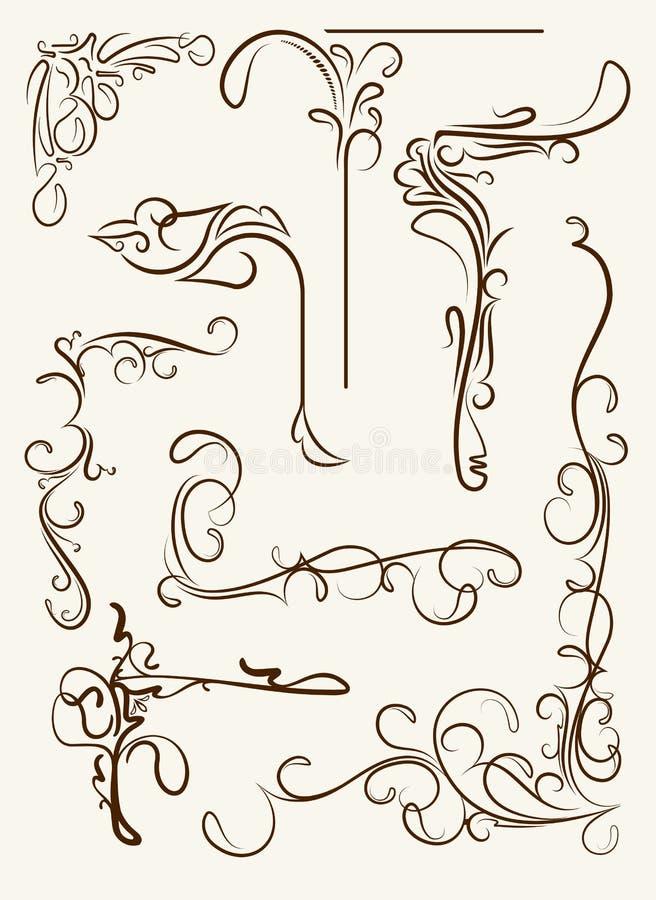 Insieme degli angoli decorativi, elementi floreali per la vostra progettazione illustrazione vettoriale