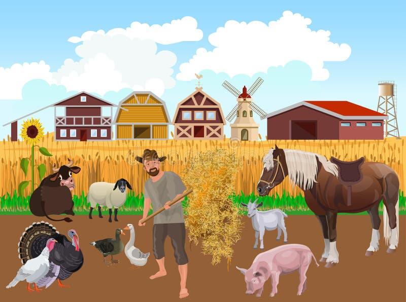 Insieme degli animali da allevamento illustrazione di stock