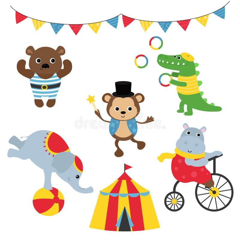 Insieme degli animali da circo royalty illustrazione gratis