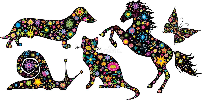 Insieme degli animali delle siluette royalty illustrazione gratis