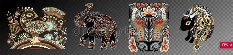 Insieme degli animali e degli uccelli decorativi etnici in traditio ucraino illustrazione vettoriale