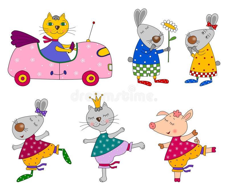 Insieme degli animali personaggi dei cartoni animati - Animali dei cartoni animati a colori ...