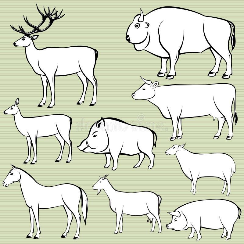 Insieme degli animali selvaggi e domestici monocromatici illustrazione di stock