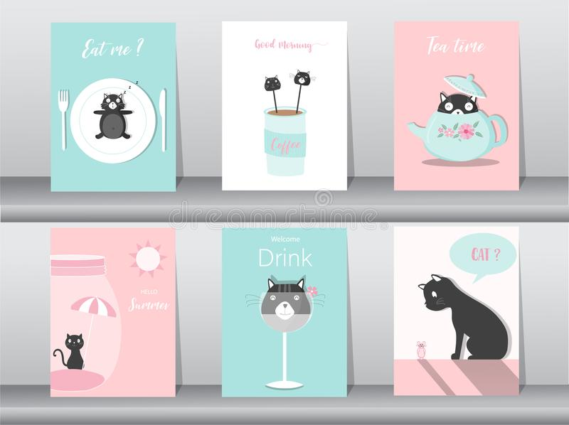 Insieme degli animali svegli manifesto, modello, carte, gatti, articoli della tavola, alimento, dolci, fumetti, estate, vettori s royalty illustrazione gratis