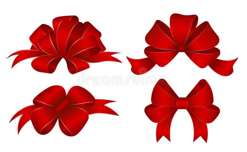 Insieme degli archi rossi del regalo Illustrazione di vettore Concetto per il vettore della disposizione dell'invito, delle inseg illustrazione vettoriale