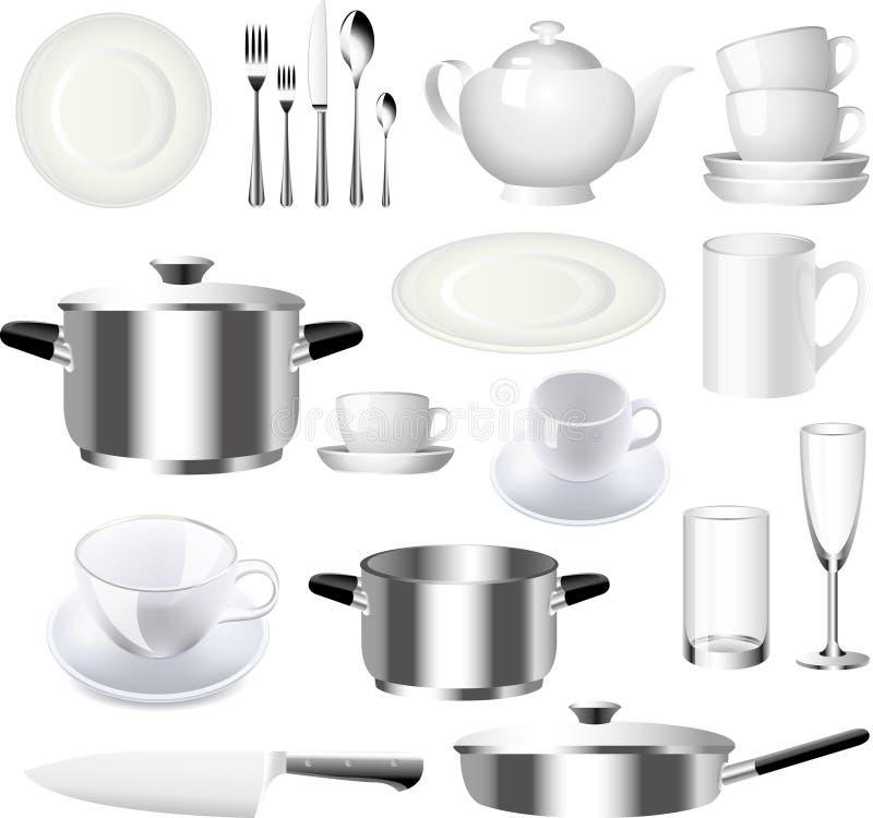 Insieme degli articoli della cucina e delle terrecotte royalty illustrazione gratis