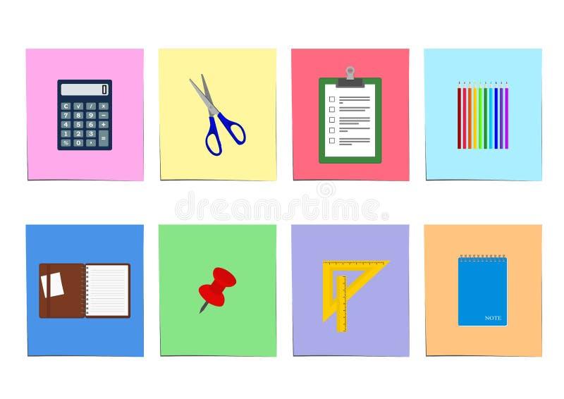 Insieme degli articoli per ufficio: taccuino, calcolatore della lavagna per appunti e più illustrazione di stock