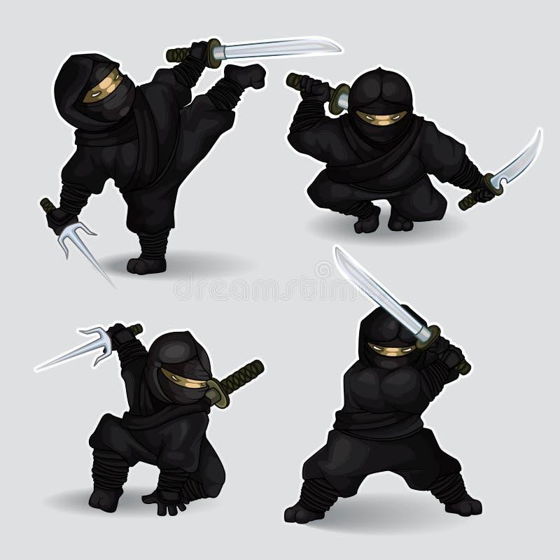 Insieme degli assassini di ninja royalty illustrazione gratis