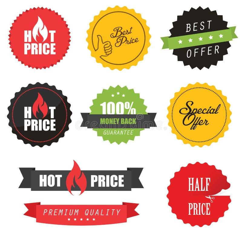 Insieme degli autoadesivi, degli elementi e dei distintivi di vendita illustrazione vettoriale