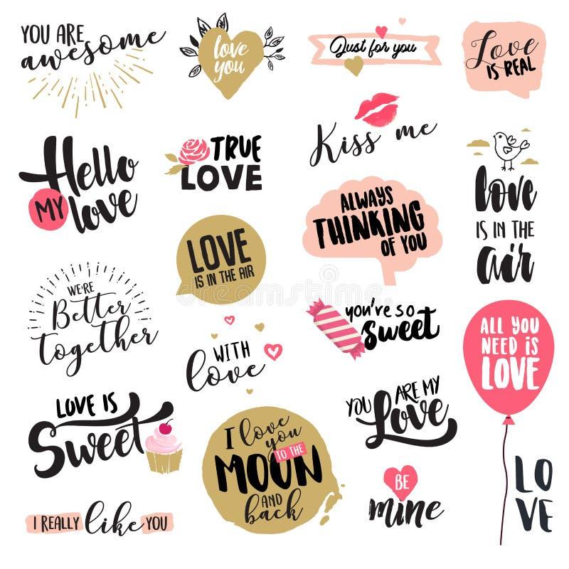 Insieme degli autoadesivi e dei distintivi di giorno di S. Valentino illustrazione vettoriale