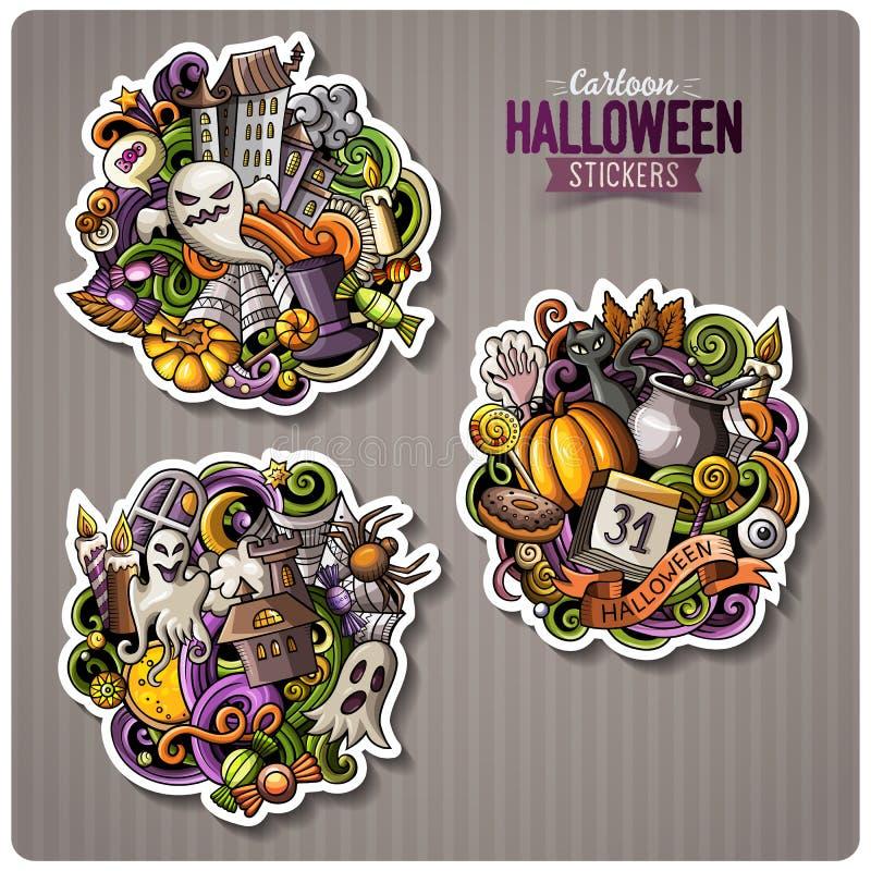 Insieme degli autoadesivi felici del fumetto di Halloween illustrazione di stock