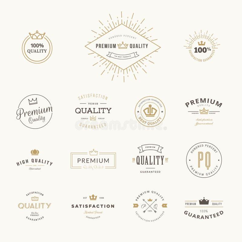 Insieme degli autoadesivi premio e degli elementi di qualità illustrazione di stock