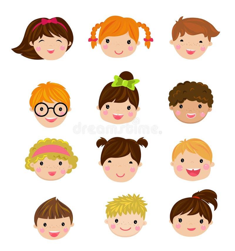 Insieme degli avatar differenti dei ragazzi e delle ragazze su un fondo bianco illustrazione vettoriale