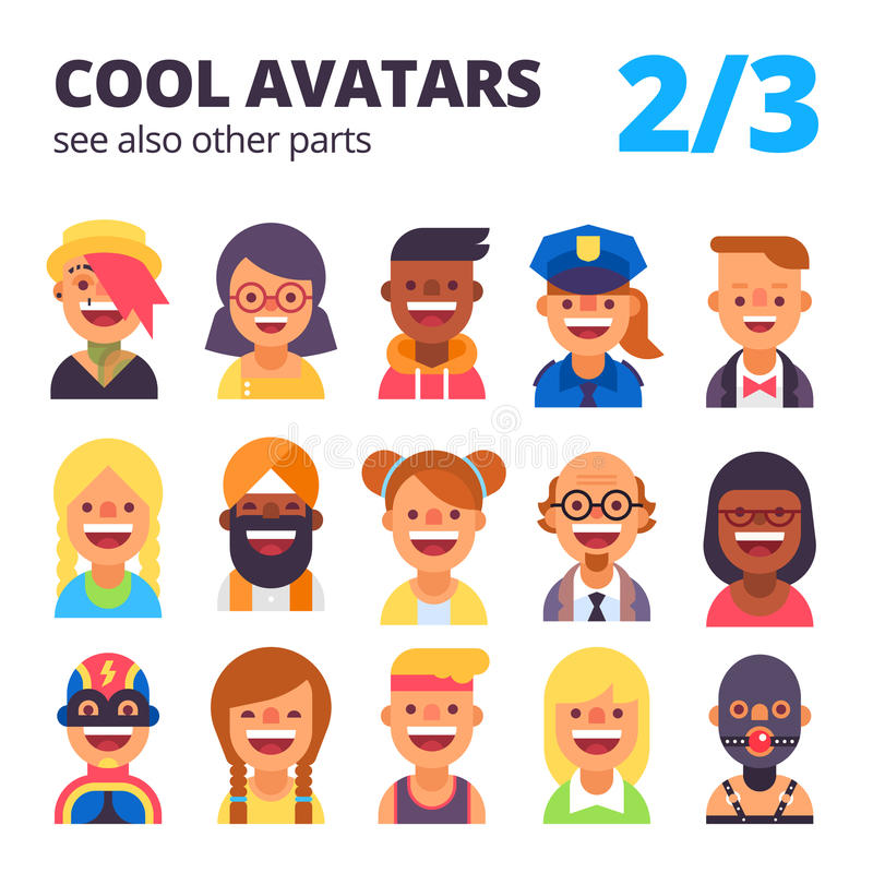 Insieme degli avatar freschi 2 di 3 Vedi inoltre altre parti illustrazione di stock