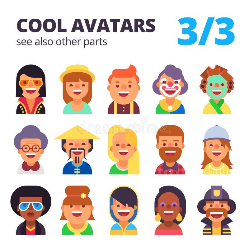 Insieme degli avatar piani Parte 3 Vedi inoltre altre parti illustrazione vettoriale