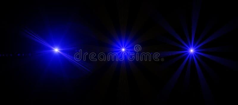 Insieme degli effetti della luce speciali del chiarore digitale astratto della lente su fondo nero Luci d'ardore blu astratte Fon illustrazione vettoriale
