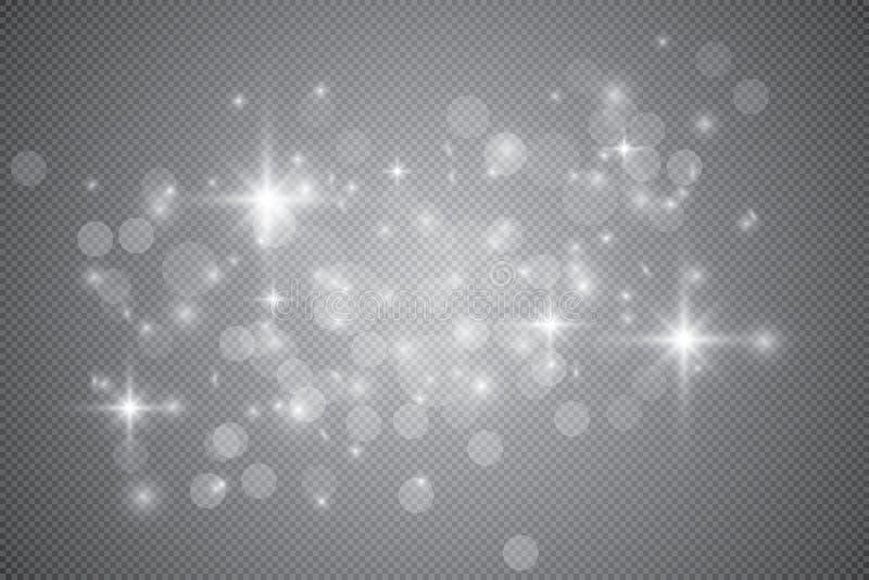 Insieme degli effetti delle luci d'ardore dorati isolato su fondo trasparente Effetto della luce di incandescenza Scoppio della s illustrazione vettoriale
