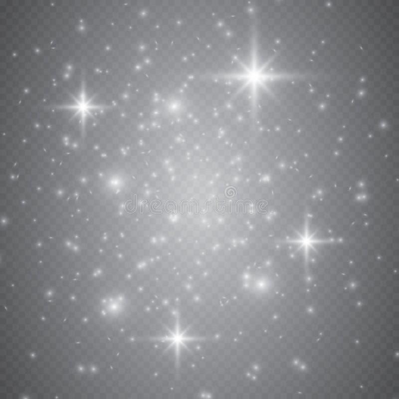 Insieme degli effetti delle luci d'ardore dorati isolato su fondo trasparente Effetto della luce di incandescenza Scoppio della s immagini stock