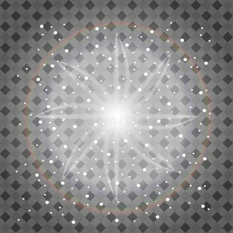 Insieme degli effetti delle luci d'ardore dorati isolato su fondo trasparente Flash di Sun con i raggi ed il riflettore E royalty illustrazione gratis