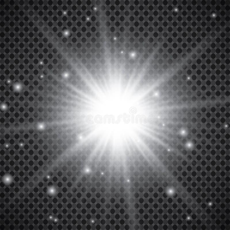 Insieme degli effetti delle luci d'ardore dorati isolato su fondo trasparente Flash di Sun con i raggi ed il riflettore Effetto d royalty illustrazione gratis